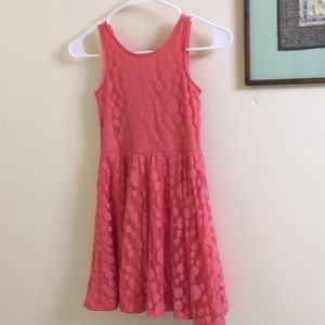 Orangish/pinkish Polk a dot dress
